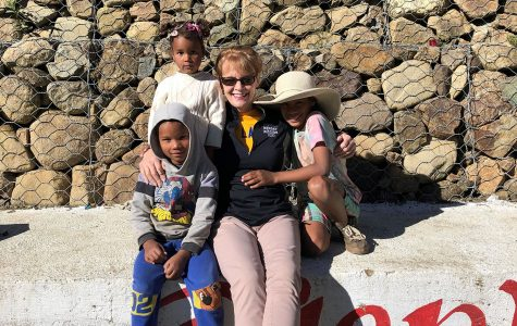 Principal Kihm bonded with the children when she wasn't busy laying bricks.