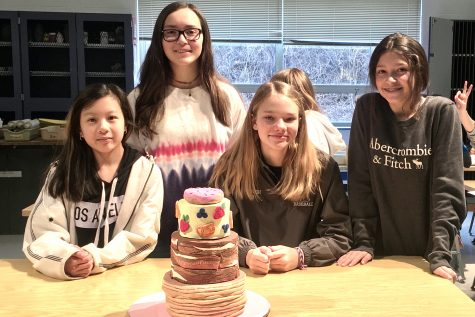Fiona K. (7), Kayla C.(8), Ana C. (8), and Audrey H. (8) created a breakfast cake for their class clay bake-off. They won 1st place for their period. It has layers of pancakes, bacon and fruit.