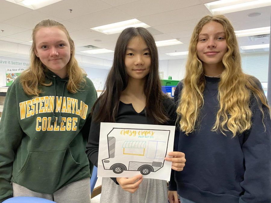 Eighth grade FACS students Landy B., River P., and Grace L. are business partners, and are designing a Crazy Crepe food truck.
