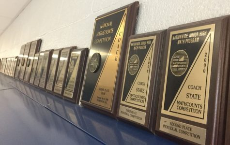 There are many MathCounts trophies and awards hanging along the walls of the math wing.