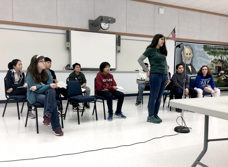 Longfellow's top 11 spellers faced off to see who could make it to the next level.