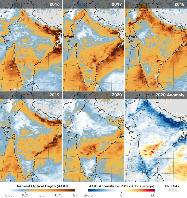 These images show the reduction in air pollution over India in 2020 attributed to the reduced activity because of coronavirus lockdowns.