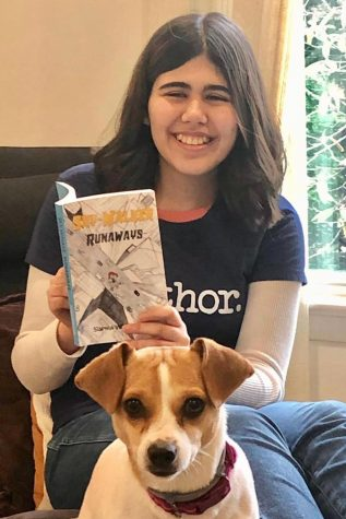 "Sophia W. not only self-published her first novel, ""Sky-Walker Runaways,"" she also designed the cover.  The book is for sale on Amazon"