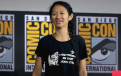 Chloe Zhao talking at the Comic Con in San Diego, California in 2019 about her upcoming film