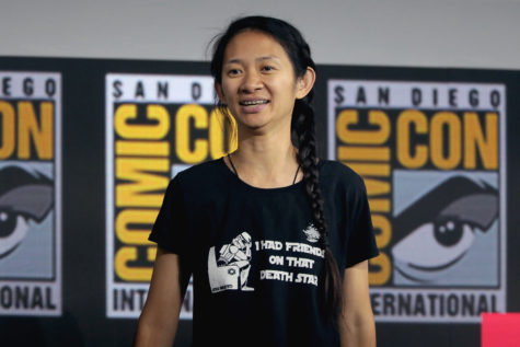 """Chloe Zhao talking at the Comic Con in San Diego, California in 2019 about her upcoming film """"Eternals."""" """"Eternals"""" is Zhao's first time working with Marvel, a very well known movie company, and after her success at the Oscars, many people are excitedly waiting for what could be her next big film."""
