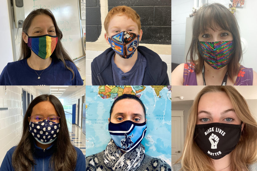 Students and teachers use masks to express themselves. Clockwise from top left: Ms. Haley's favorite mask is her LGBTQ+ Pride flag. Henry shows off his Star Wars stan with a home made mask. Ms. Barry is all about the bling. Momo layers up with cute polkadots over a standard surgical mask. Ms. U'Halie likes to show school spirit with her mask.