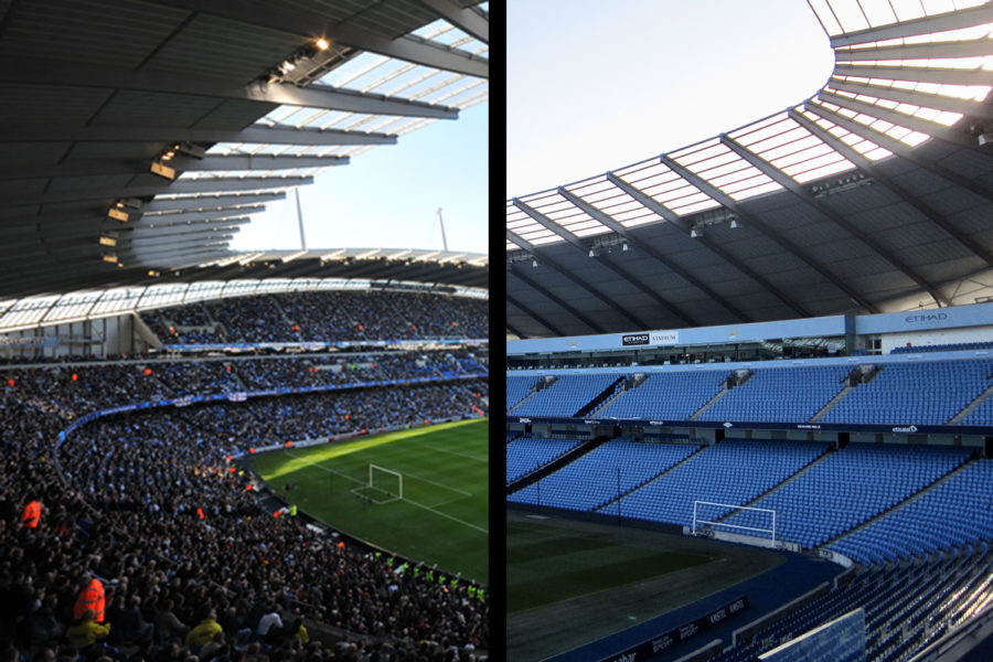 Manchester+City%E2%80%99s+home+stadium%2C+the+Etihad%2C+is+among+the+Premier+League+stadiums+playing+without+in+person+fans+during+the+COVID-19+global+pandemic%2C+though+Manchester+City+are+set+to+welcome+back+10%2C000+fans+in+their+stadium+for+their+final+Premier+League+match+of+the+season+on+May+23%2C+2021.