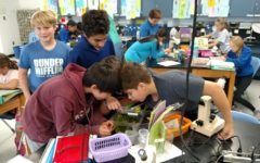 Mr. Bradford's students last year crowded around fish tanks to learn about eco-systems, but students weren't able to do that lab this year.